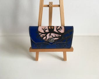 With decorative nuanced blue tooled leather wallet: OWL on branches