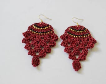 """Pineapple"" style hook earrings (Burgundy and gold)"