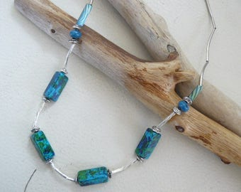 Fine silver and Blue Bead Necklace Tibetan