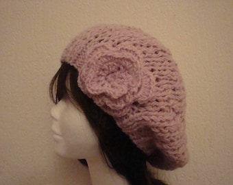 Pink Hat, handmade knit, French, warm and soft wool