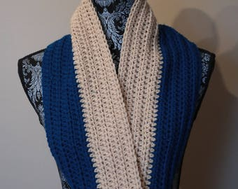 Blue and Beige Infinity scarf