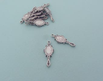 Set of 10 mirror charms (or pendants) - Antique silver metal
