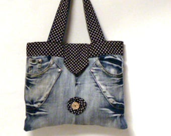 bag of recycled denim and cotton; carried hand or shoulder