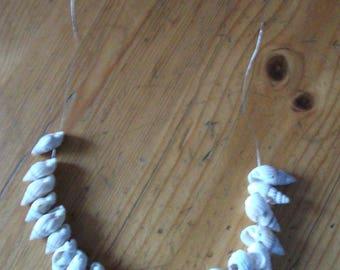 Shells in flexible silver artisan necklace