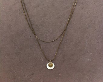Double necklace with long bronze chain + sequin bronze and enameled white