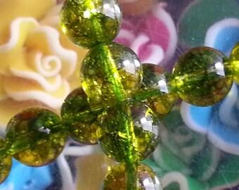 10 pearls of quartz olivine 8 mm in diameter, hole 1 mm