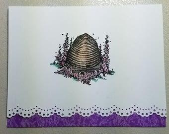 Purple & White Bee Hive Handmade Birthday Card