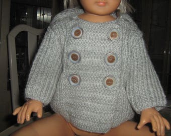 Hand knitted grey overcoat for boy 3 months.