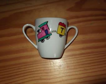 "Cup / mug with custom painted handle ""train"""