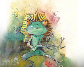 "illustration - Print Watercolour/watercolor - A4 size - ""pharaonic frog"""