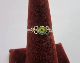 Vintage Sterling Silver & Solitaire  Art Glass Flower Ring