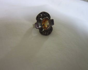 Antique Sterling Silver Ladies Ring With Large Citrine Center Stone  4 Amethyst Stones &  Marcasites;