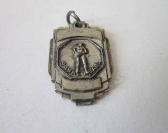 Antique Art Deco High School Basketball Silver Charm or Pendant