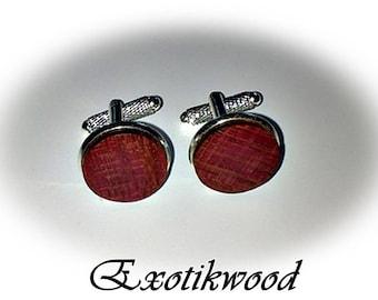 Wood Amarante cufflinks