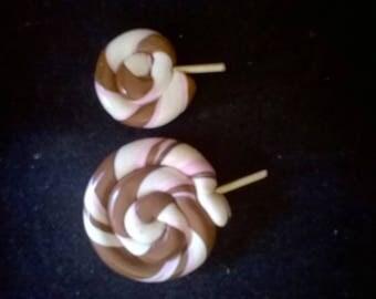 2 pretty lolipop in chocolate, vanilla, strawberry Fimo