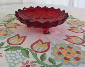 Fostoria American cube pattern, ruby red 3 footed candy dish - Free Shipping in the U.S.