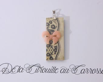 Retro, Brown and beige, powder pink bow pendant