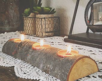Rustic Wood Candle Votive