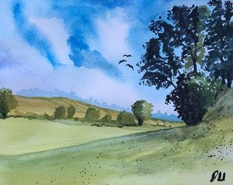 Pasture Landscape, Original Watercolor Painting