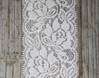 Pretty large floral white lace by the yard