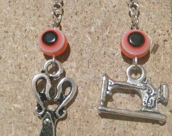 Silver Earring with scissors and sewing machine