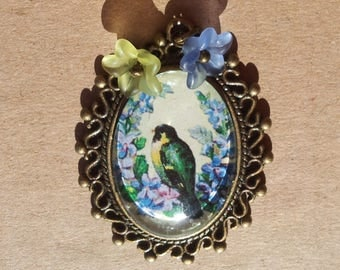 """Pendant """"Parakeet"""" - cabochon parakeet and forget-me-not flowers"""