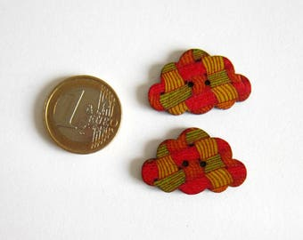 2 cloud buttons flat 2 hole pattern effect weaving, red, orange, yellow, green