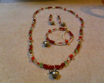 "set ""Apple"" (necklace, bracelet and earrings), class (red, green and silver)"