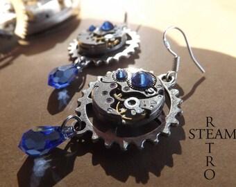 Watch movement blue Swarovski earrings Steampunk by Steamretro