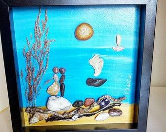 Pebble Art, Wedding Gift, Couple, Love Gift, Anniversary Gift, Home Decor, Pebble Picture, Sea, Beach, Love, Holidays