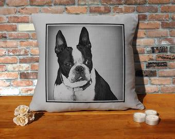 Boston Terrier Dog Pillow Cushion - 16x16in - Grey
