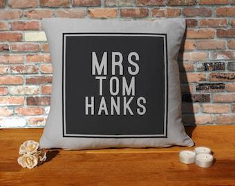 Tom Hanks Pillow Cushion - 16x16in - Grey