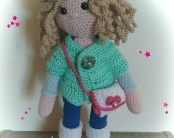 Amigurimi doll Molly made entirely crochet.
