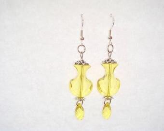 Yellow drop earrings pendant vase