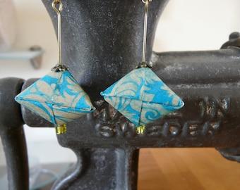 Origami cherry print teal and grey diamond earrings