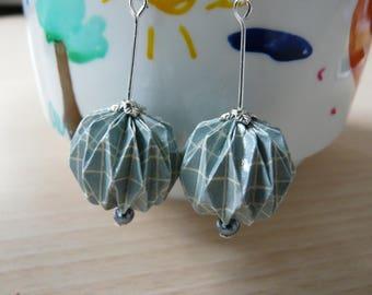 Origami dangle earrings blue paper ruled