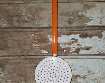 Vintage French Orange And White Enamel Strainer,Utensil,French Kitchen,Enamelware,French Enamelware,Rustic Decor,Enamel Utensil,Gift