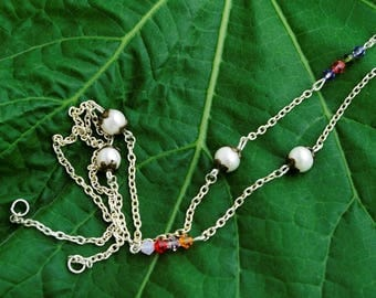 Silver and genuine Pearl Necklace freshwater pearls and Czech beads, 55 cm