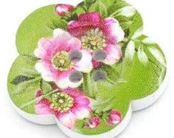 BBFL27100 - 2 flower 27 mm wooden buttons