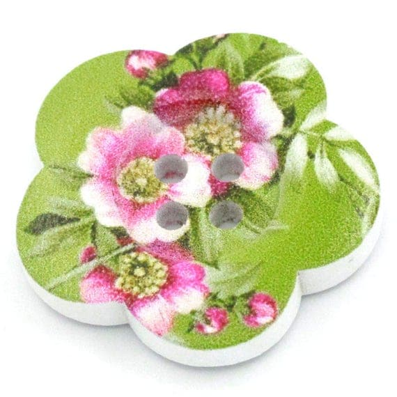 BBFL27100 - 2 flower 27 mm wooden buttons