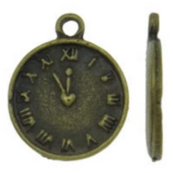 """Set of 5 charms bronze colored """"clock"""" size 13 x 26 mm"""