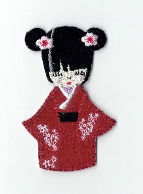 """Patch fusible trendy red """"kokeshi"""" pattern"""