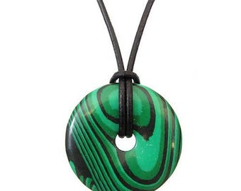Chinese pi 30mm donut pendant necklace - malachite