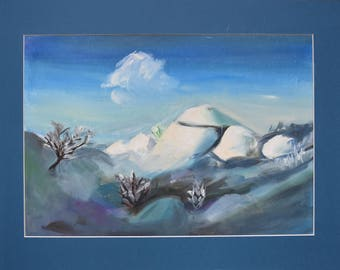 Snow hills oil painting