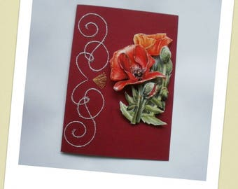 Embroidered card s poppy 3D No. 28