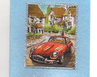 118 - Red car father's Day greeting card in village