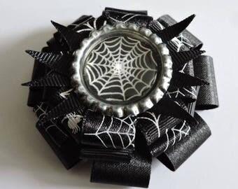 Black & White Spider Web Gothic Bow