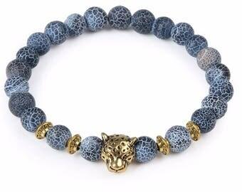Grey cracked agate stone beads bracelet