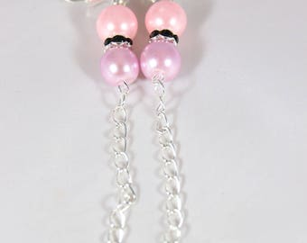 Beautiful earrings with silver metal, 110 mm glass beads
