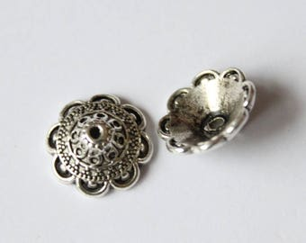 pearls flower silver plated charms 12.5 mm, set of 2